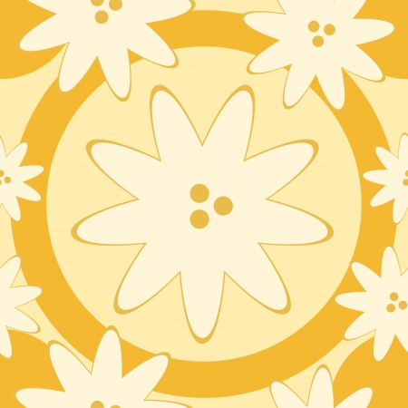 Abstract seamless pattern with light-yellow flowers and orange circles. No mesh, gradient, transparency used. Objects grouped and named in English. Stock Vector - 17387232