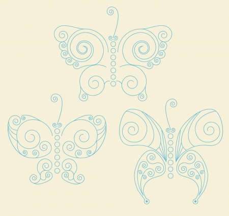 twee:  Set of three blue patterned butterflies on light-yellow background. No mesh. gradient, transparency used. Objects grouped and named in English.