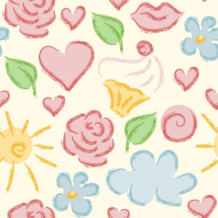 Seamless pattern made of hand drawn summer objects on light-yellow background.  Stock Photo - 18001105