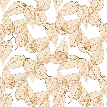 Beige leaves seamless pattern. Objects grouped and named in English. No mesh,gradient, transparency used.  Stock Vector - 18001107