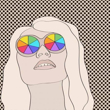frau nach oben schauen: Blonde Frau mit Regenbogen Gl�ser und aufzublicken. Objekte gruppiert und benannt in englischer Sprache. No mesh, Gradient, Transparenz verwendet. Illustration