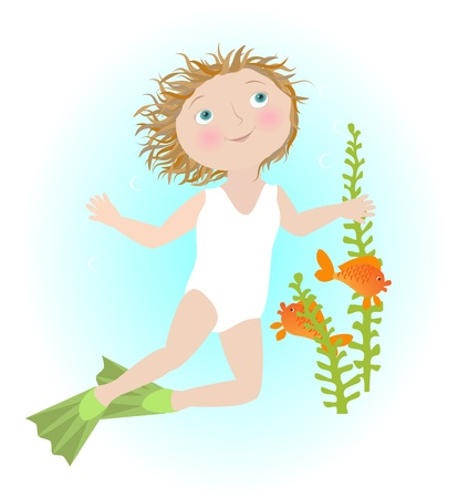 enfant maillot de bain: Fille de bande dessinée illustrant nage sous l'eau Poissons Objets signe du zodiaque regroupés et nommés en anglais Non Dégradé de transparence mailles, utilisé utilisé