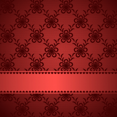 Red lacy background with silky ribbon  Stock Vector - 18199873