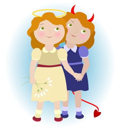2 cartoon girls - devil and angel illustrating Gemini zodiac sign  Objects grouped and named in English  No mesh, transparency used  Gradient used   Vector