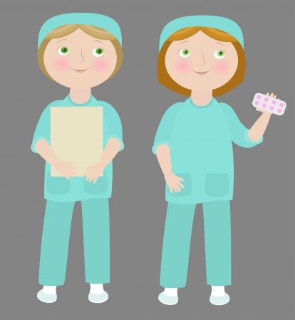 2 cartoon girls wearing medical uniform.  Vector