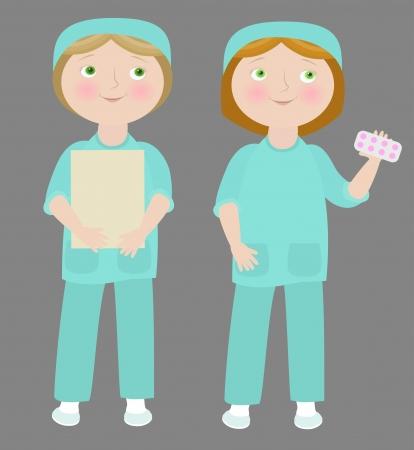 2 cartoon girls wearing medical uniform.