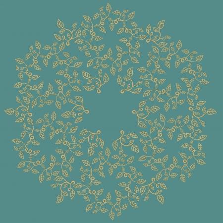 Round decorative floral composition. Illustration