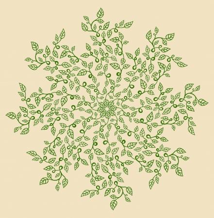 Round decorative floral composition.
