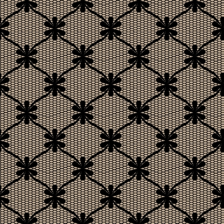black lace: Black lace seamless pattern with flower net.