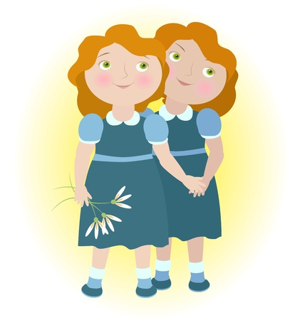 girls holding hands: Twin girls holding hands illustrate zodiac sign Gemini