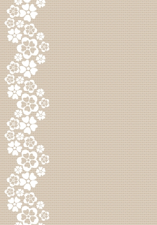 Vertical white lacy flower border   Illustration