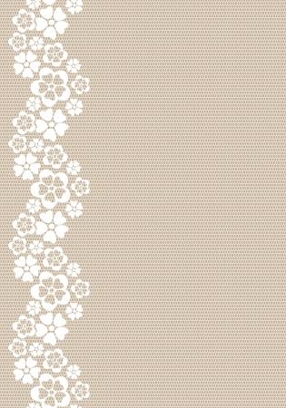 Vertical white lacy flower border   Illustration