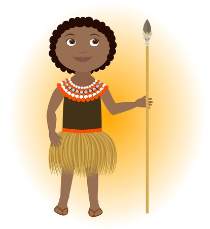 uneducated: African child wearing traditional costume with lance. Illustration