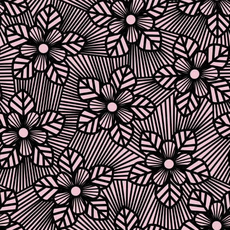 Seamless flower pattern made of straight lines.  Vector