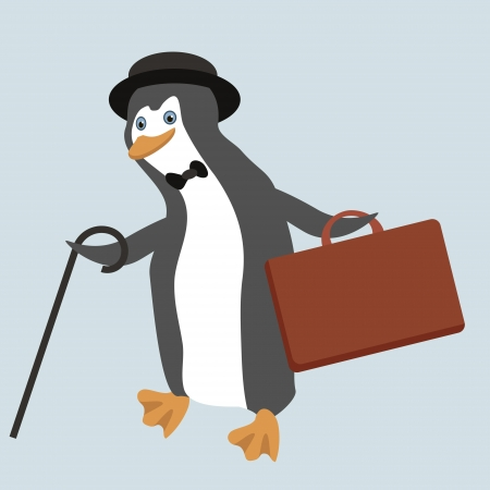 Funny penguin character wearing old fashioned bowler hat with suitcase and walking stick  Stock Vector - 18905023