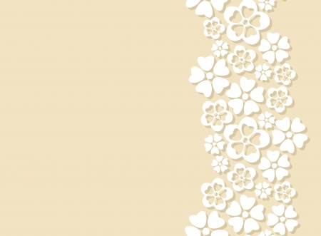 side border: Seamless side border made of white paper cut flowers