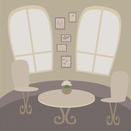 Illustration of cafe table with two chairs