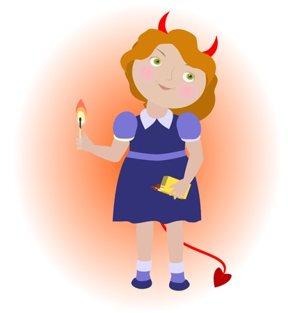 upbringing: Cartoon devil girl with matches  Objects grouped and named in English  No mesh, transparency used  Gradient used