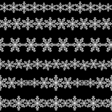 Set of seamless snowflakes borders.  Illustration