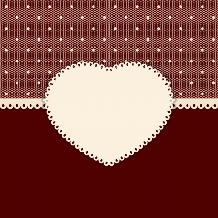 Retro background with polka dot lace and perforated heart label.  Vector