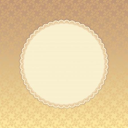 Golden background with beige round label. Eps 8.