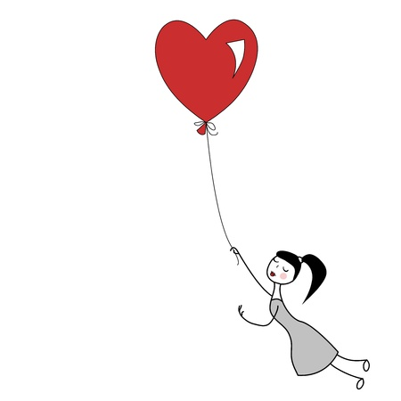 Girl holding the string of flying red heart balloon   Vector