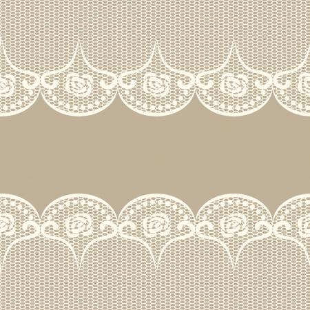 Beige background with two white lacy borders  Illusztráció
