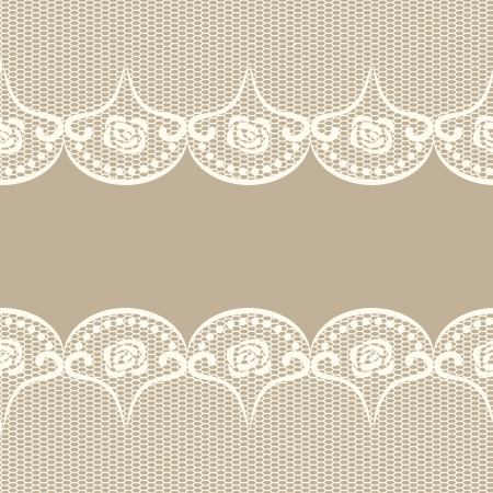 Beige background with two white lacy borders  Illustration