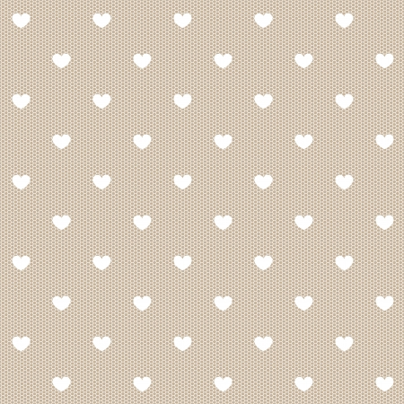 Seamless white lace with hearts   Illustration