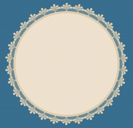 Beige round frame with lacy side on blue background   Illustration