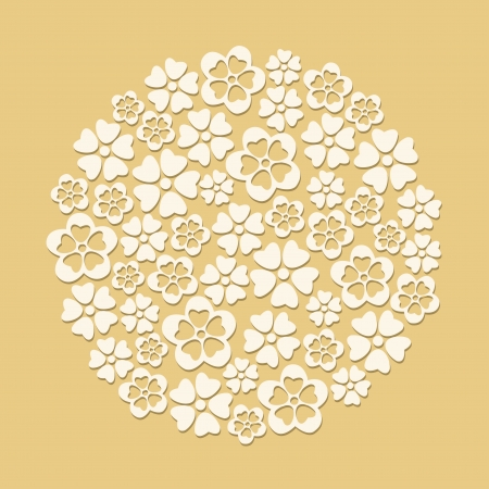 cuts: White paper cut flowers circle on beige background