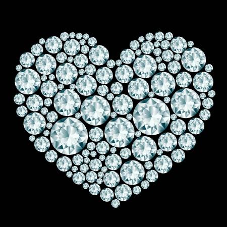 Heart diamond composition  Illusztráció