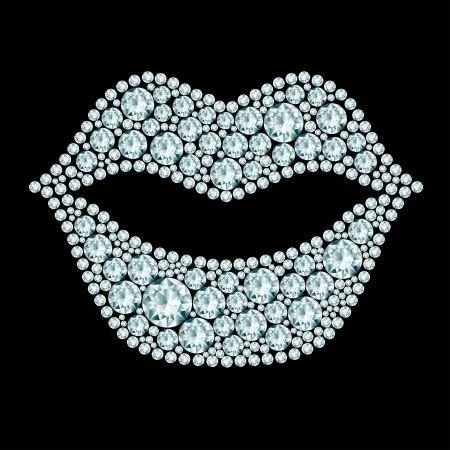 plump lips: Plump lips made of diamonds