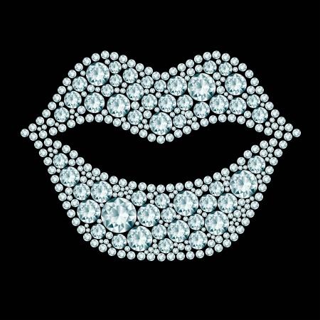 plump lips: Plump lips made of diamonds