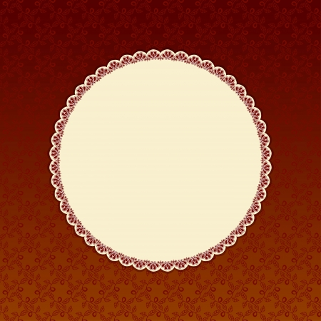 Brown background with beige round label.