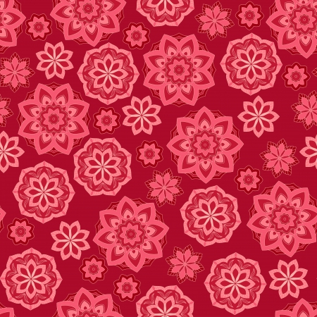 Red flower seamless background.  Illustration