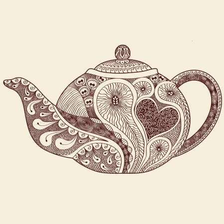 faience: Patterned teapot drawing