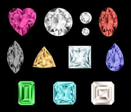 Set of colorful gemstones   Vector