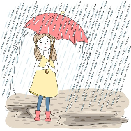 Girl with big red umbrella  Vector