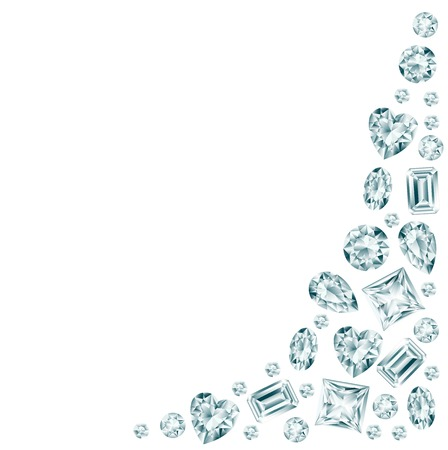 White background with diamonds.  Illustration