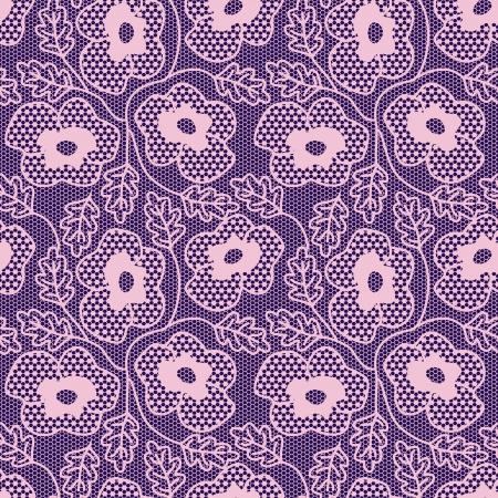 Seamless pink flower lace pattern.