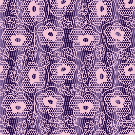 Seamless pink flower lace pattern. Vector