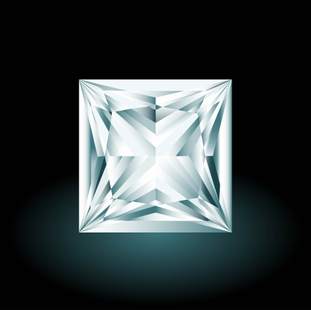 Princess cut diamond on black background Vector