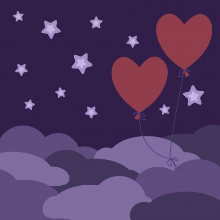 highness: Two red balloons flying in the night sky  Illustration
