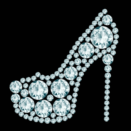 힐: 다이아몬드로 만든 하이 힐 신발 일러스트