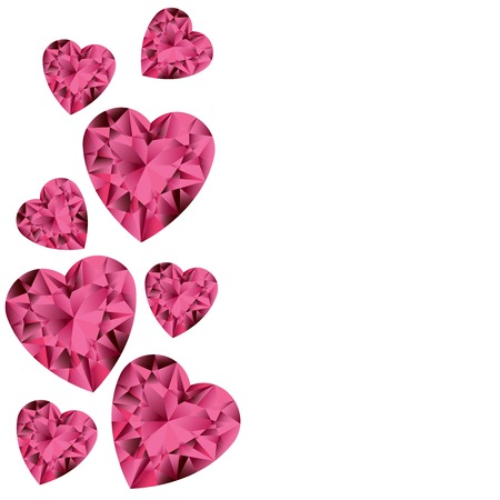 ruby gemstone: White background with ruby gemstone hearts