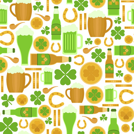 Seamless pattern of Saint Patricks Day related objects Vector