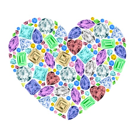 heart made of different gemstones.  Vector