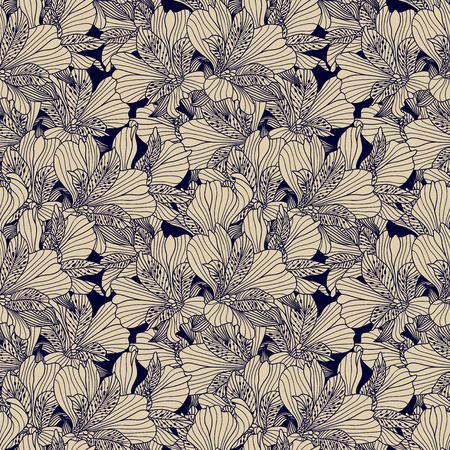Seamless dark ink alstroemeria pattern on beige background.  Illustration