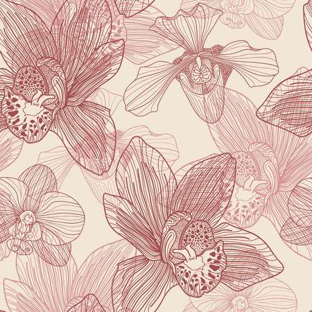 Orchid engraving seamless pattern on beige background  Vector